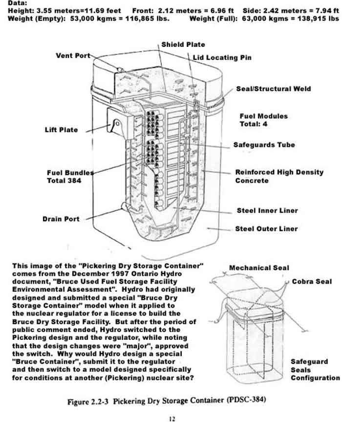 Schematic of Pickering dry storage container